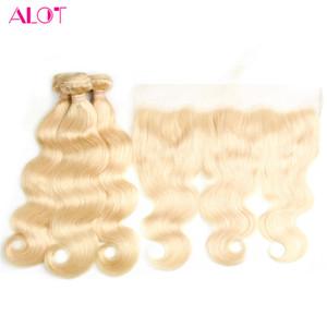 Bundles Blonde brésilienne avec couleur frontale 613 vague de corps de cheveux humains oreille à l'oreille 13 * 4 fermeture frontale de dentelle transparente avec 3 faisceaux