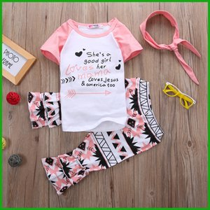 new fashion lovely girls suits letter geometrc print short sleeve t-shirt long pants children clothing set with headband free shipping