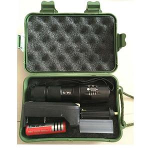 G700 E17 CREE XML T6 высокой мощности LED факелы масштабируемые тактические светодиодные фонари Факел + 1 18650 аккумулятор+зарядное устройство +Зеленая коробка