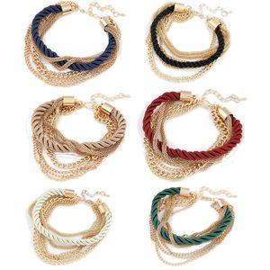 6 цветов женщины браслет ткать цепи ручной работы сплава подвески браслеты браслеты браслеты для мода девушки женщины аксессуары