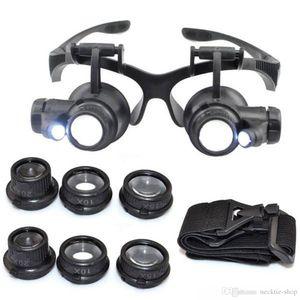 Sıcak 10X15X20X25X büyüteç Çift LED Işıkları Gözlük Lens Büyüteç Büyüteç Kuyumcu İzle Onarım Araçları glitter2008