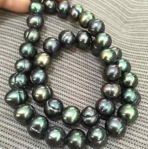 Charmante tahitian 10-11mm pfauengrüne Perlenketten 18 Zoll 14 Karat Goldverschluss