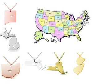 2016 Yeni Amerika 50 Devlet Haritası Kalp Kolye Ile Kalp Kolye Devlet Sarkık Kolye Paslanmaz Çelik Moda Takı New York Eyaleti