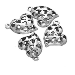 100 pcs antique silver heart charm pendant good for jewerly making, DIY craft, etc free shipping