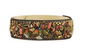 New velvet watch bracelet with semi stones,multi colours fibre U shape bangle