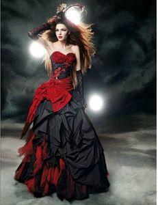 Vestidos de novia góticos rojos y negros 2019 Sweetheart Bow Lace Drapeado Vintage vestidos de novia vestido de noiva Custom W102 Venta caliente