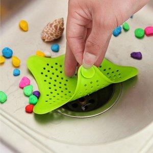 Nova Cozinha Silicone Cinco-apontado Estrela Filtro de Pia Do Banheiro Otário Drenos de Chão Chuveiro Filtro de Esgoto Filtro Colanders Coador