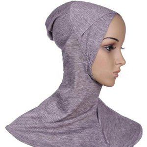 Hijab Muçulmano Caps Hijab Cachecol Mulheres Ninja Underscarf Caps Produto Islâmico Instantâneo Turbante Algodão Preto Cobertura Completa Jersey Bandana
