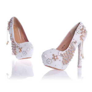 Красная жемчужина и горный хрусталь свадебные туфли с феникс свадебная классическая обувь кисточкой кулон на платформе каблуки выпускного вечера насосы плюс размер