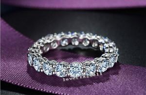Vecalon Prong set Joyería de las mujeres 925 Anillo de plata esterlina 2 quilates Diamante simulado Cz Anillo de compromiso de boda Anillos para mujeres