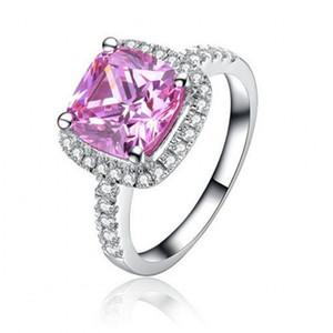Мода 3ct Принцесса cut розовый драгоценный камень кольца окружают крошечные ювелирные изделия с бриллиантами стерлингового серебра 925 обручальное обручальное кольцо кольца для женщин