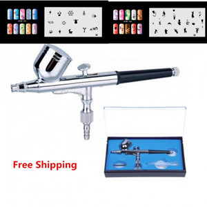 Real Glitter Tattoo 0.3 7cc Aerógrafo Set 130 Air Brush Spray Gun Kit Nail Art Painting Con 2 Psc Nail Plantilla