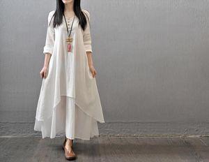 biancheria di cotone di colore donne vestono Maxi 2020 Primavera Autunno Nuovo False due pezzi Dimensioni girocollo manica lunga allentato più il vestito irregolare