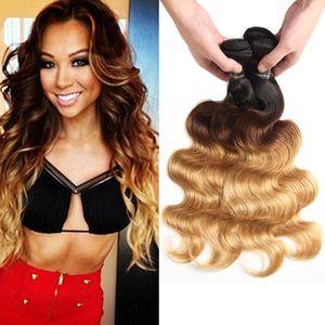 Ombre Corps Vague Cheveux Tisse Malaysian Indien Péruvien Brésilien Vierge Bundles de cheveux vierge bodywave Deux Tons Sombre Racines Blonde Ombre Cheveux Humains
