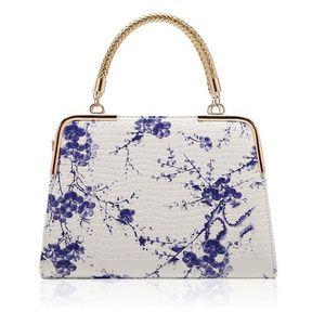 Moda kadın paketi 2016 yeni sıcak stil Çin rüzgar mavi ve beyaz porselen taş tahıl baskı ayna çanta bayan çanta