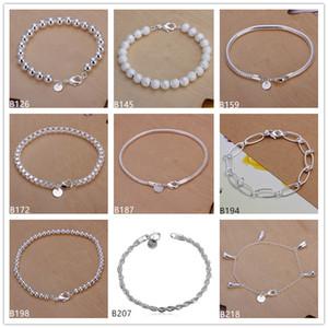 Flash Twired Веревка песок жемчуга коробка из бисера, пряди Абердин Стерлинговые серебристые браслеты 8 штук смешанный стиль GSSB3 продажа женских 925 серебряный браслет