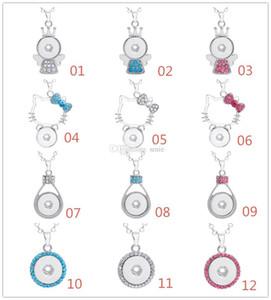 Mode Femmes NOOSA Collier Snap Button Charme Pendentif En Cristal Collier Snaps Bijoux Avec Chaîne En Acier Inoxydable 361L
