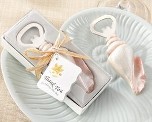 gros 50pcs / lot faveurs de mariage Beach Sea Shell ouvre-bouteille