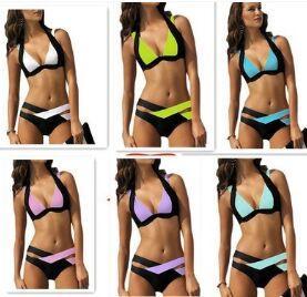 HOT Sexy Women Bandage Triangle neoprene beach Bikini Push-up Padded Bar Swimsuit padded zipper bras Swimwear