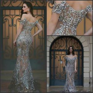 2019 Luxo Dubai Vestidos de Noite Sereia Fora do Ombro Ilusão Back Major Beading Sweep Trem Cinza Formal Longos Vestidos de Noite