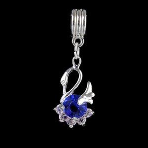 Authentic Sparkling Crystal Swan Charm Versilberung Charms Lose Perlen Charms passen europäischen Pandora Armbänder Schwarz / Weiß / Blau / Rot / Lila