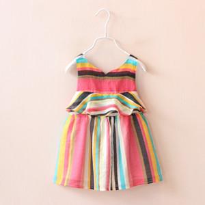 2016 Moda Yeni Yaz Kromatik şerit elbise Bebek Kız Acısını kemer etek Pamuk pembe şerit elbise renkli Elbiseler