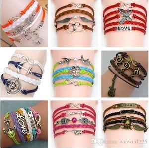 54 estilos Pulseiras Nota Musical Cordas de cera e couro tecer Leather Christmas Gift Bracelet frete grátis