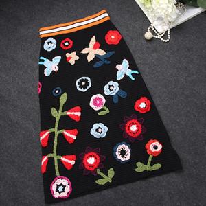 2016 noir floral broderie automne coton femmes jupes haut de gamme célébrités élastiques Saia jupes femmes 91904