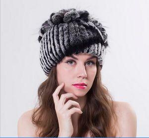 Mulheres inverno rex pele de coelho tampas de malha com flores de pele de raposa tarja gorros de pele nova moda feminina causal chapéus