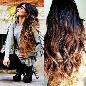 Full Lace Wig 3 tons ombre tisse 1b / 4/27 sans colle Full Lace Wigs Brésilienne de cheveux humains avant de lacet Perruques pour les femmes noires