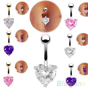 Toptan-Gümüş Altın Göbek Belly Button Yüzük Rhinestone Bar Kalp Yıldız Göbek Piercing Vücut Takı 97TV