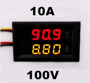 Wholesale-DC 0-100V 0-10A car Voltmeter Ammeter tester Panel LED Dual Display five wires Current Voltage Monitor Volt Amp meter