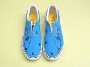 Ручная роспись холст мультфильм обувь Snoopy граффити ручная роспись обувь синий низкий кроссовки мокасины мужчины женская обувь дешевые продажа