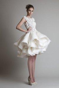 2021 New Bateau Sleeveless A-Line Mini Beach Wedding Bridal Dresses Krikor Jabotian Organza Ruffles Short Wedding Dress 2018