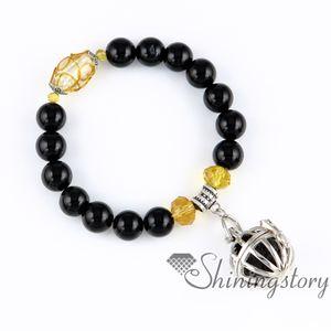 balle oiseau cage ajourée bracelets charme bracelets diffuseur bracelet parfum pendentif huile essentielle pendentif diffuseur semi précieux ston
