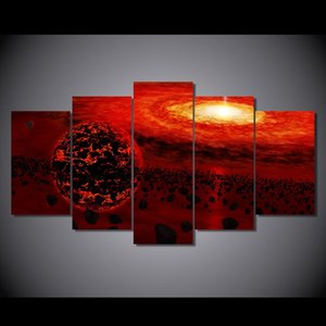 5 Панель Canvas Art Printed Фантазия Вселенной Планета Картина Холст печати Номер Печать плаката Картина холст Свадебные украшения Живопись