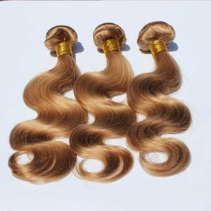 Мода Цвет # 27 Honey Blonde Hair Связки малазийский человеческих волос Body Wave Weave 3 шт / много жгуты Body Wave Human / Уток