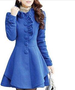 Al por mayor- Mezcla de lana de mujer Escudo Slim Coat Long Jacket rosa
