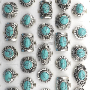 Marca New Vintage Turquesa Anéis de Pedra Design Misto Ajustável Antigo Anéis de Prata Tibetano Frete Grátis 50 pcs Atacado