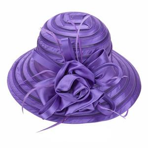 Новые Mesh Кентукки Церковная Шляпа Для Женщин Шляпа из Органзы Широкие Поля Плоскими Шапками 9 Цветов Бесплатная Доставка