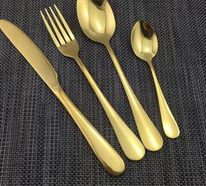 4 шт. / компл. золотой цвет из нержавеющей стали посуда наборы посуда нож вилка чайная ложка роскошные столовые приборы Набор посуда набор KKA2313