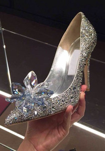 Nuovi tacchi alti strass Cinderella Scarpe donna Pompe scarpe da donna a punta scarpe da sposa in cristallo 7cm o 9cm tacco misura grande