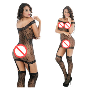 레오파드 프린트 Cockchless Sexy 란제리 바디 슈트 원피스 Latex Women Body Stockings 무료 사이즈 2017 신규
