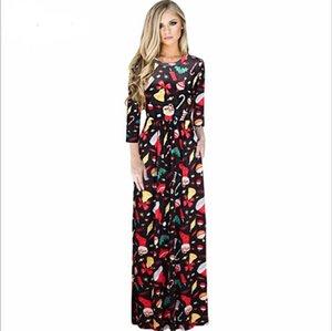 2017 Sexy Femmes Floral Imprimer 3/4 Manches Boho Dames Long Maxi Dress Pocket Glace En Soie Tunique Parti Robes De Noël De Noël Robes