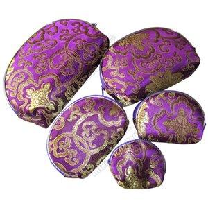 Pas cher lumière les meilleures femmes 5 Taille Porte-Monnaie Ensembles Tissu en soie imprimé Fermeture à glissière cosmétique sac de rangement de maquillage Emballage Vente en gros