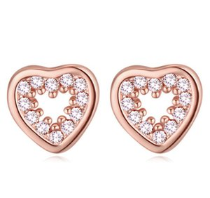 Stud Earrings Jewlry Fashion Women Luxury High Quality Zircon 18K Gold Plated Hearts Earrings Jewelry Wholesale Free Shipping TER025
