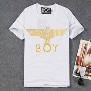 Europa Tide marca MENINO LONDRES T-shirt homens e mulheres casal modelos letras de águia dourada de manga curta Bigbang