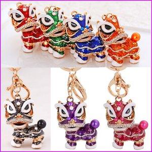 Belle style chinois danse du lion porte-clés mascotte antique porte-clés mode cristal porte-clés animal émail porte-clés porte-clés pendentif