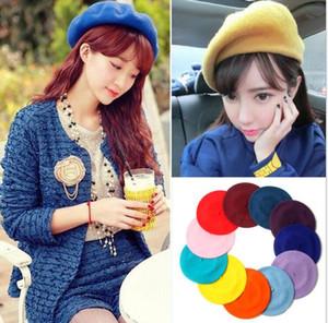 Berretti di lana berretti di lana delle ragazze graziose molti colori Donne Pittore di moda Lana all'aperto Autunno caldo berretto francese Berretti delle signore Berretti di lana delle ragazze