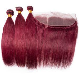 Brasilianisches Weinrot Seidiges Gerades Menschenhaar 3 Bundles Mit Frontal 13 x 4 Burgund 99 J Reine Haarverlängerungen Mit Top Frontal Verschluss
